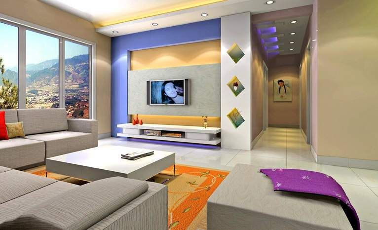 Lcd wall unit design for living room living room designs for Lcd designs for living room