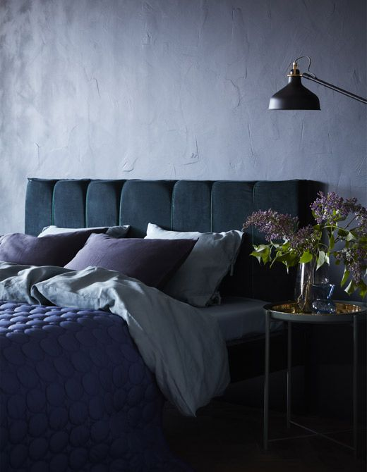 You Can Turn A MALM Bed Frame From IKEA Into A DIY Padded Headboard. We Did  It With Some Foam Cut Into Panels And A Dark Blue Velvet Curtain As The ...