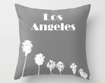 Los Angeles Pillow COVER grey Palm Trees California Coastal bedding home beach decor typeography