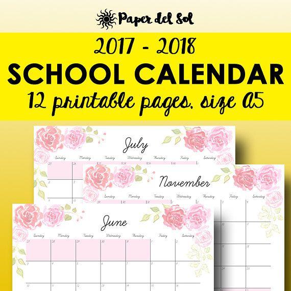 School Calendar  A Printable Teacher Calendar A