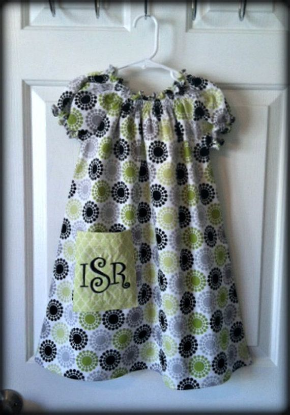 LIme Gray and Black Peasant Dress with Initials by dainteedesigns, $34.00