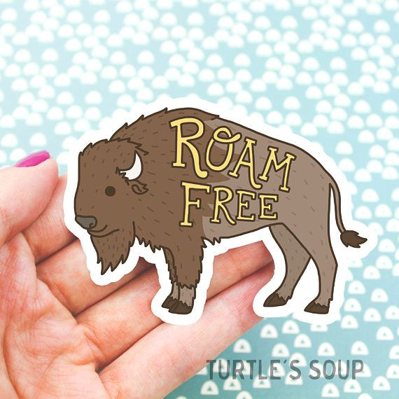 Moving sale roam free vinyl sticker buffalo sticker woodland bison outdoors fathers day gift animal decal buffalo art modern