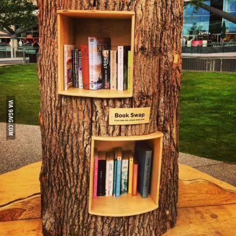 Just Need A Tree Trunk Book Swap Tree Bookcase Tree Bookshelf