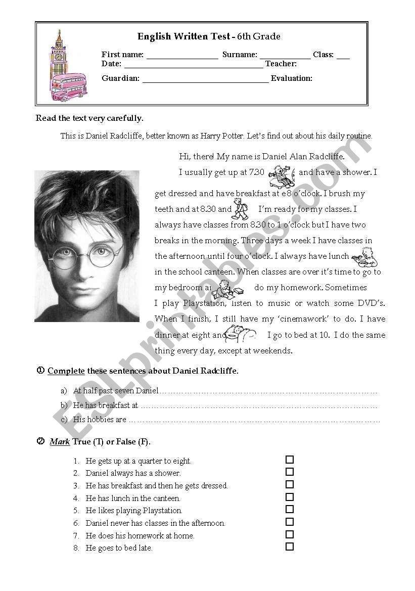 Harry Potter Daniel Radcliffe Esl Worksheet By Marmachado Harry Potter Classroom Harry Potter Lessons Harry Potter Kids Harry potter reading comprehension