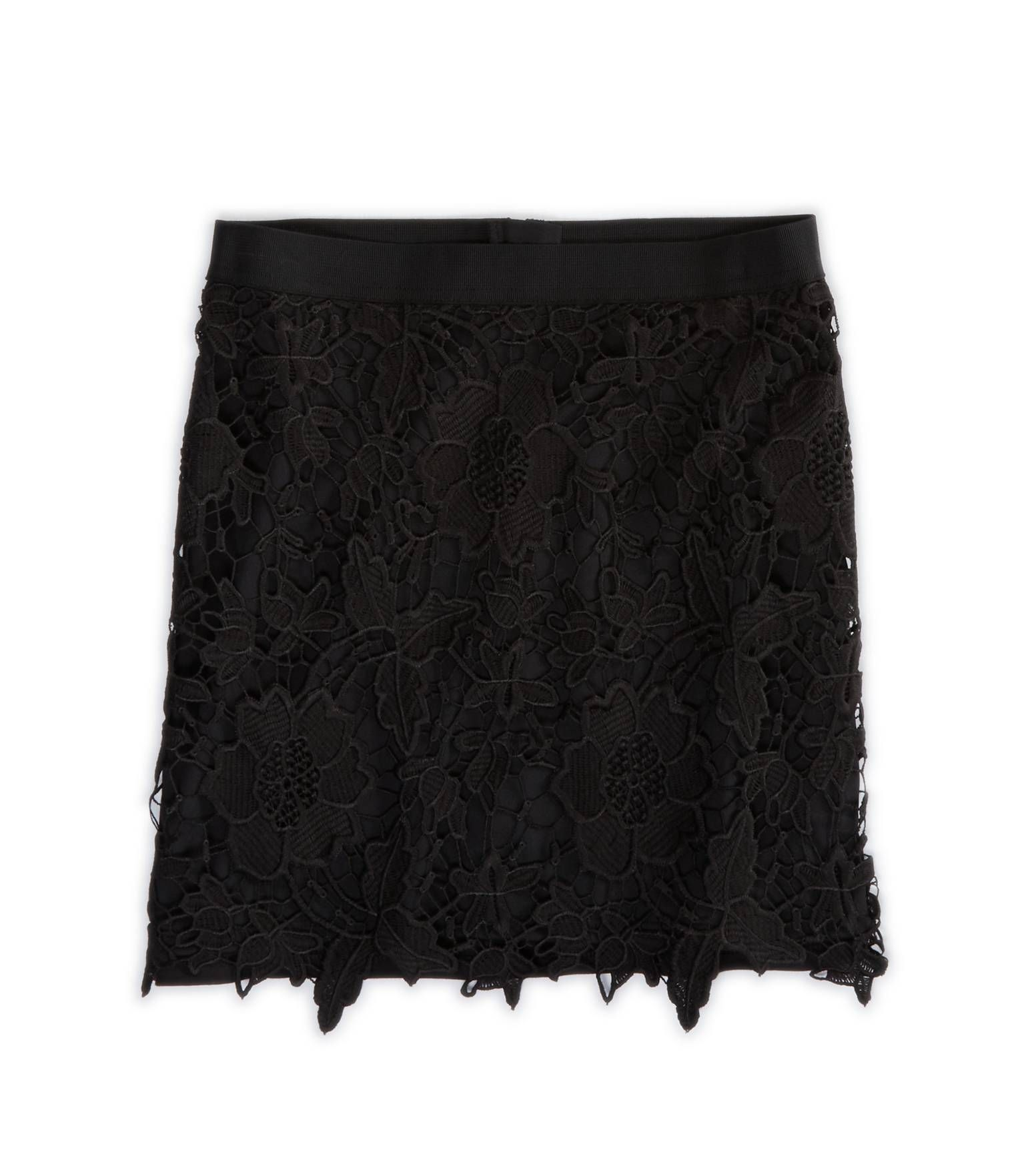 Black · Black lace overlay mini skirt