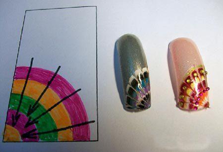 Схемы рисунков иголкой на ногтях (с изображениями)   Уроки ...