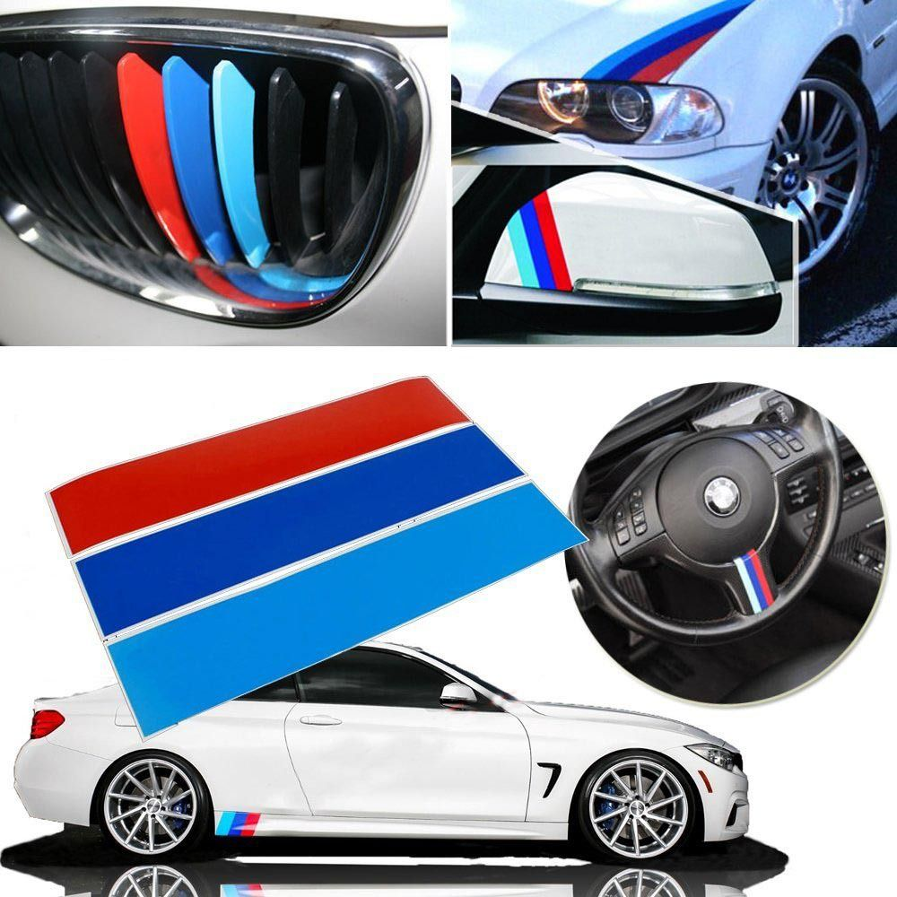Car Styling Sticker M Colored Racing Stripes Stickers For BMW - Bmw grille stripe decals
