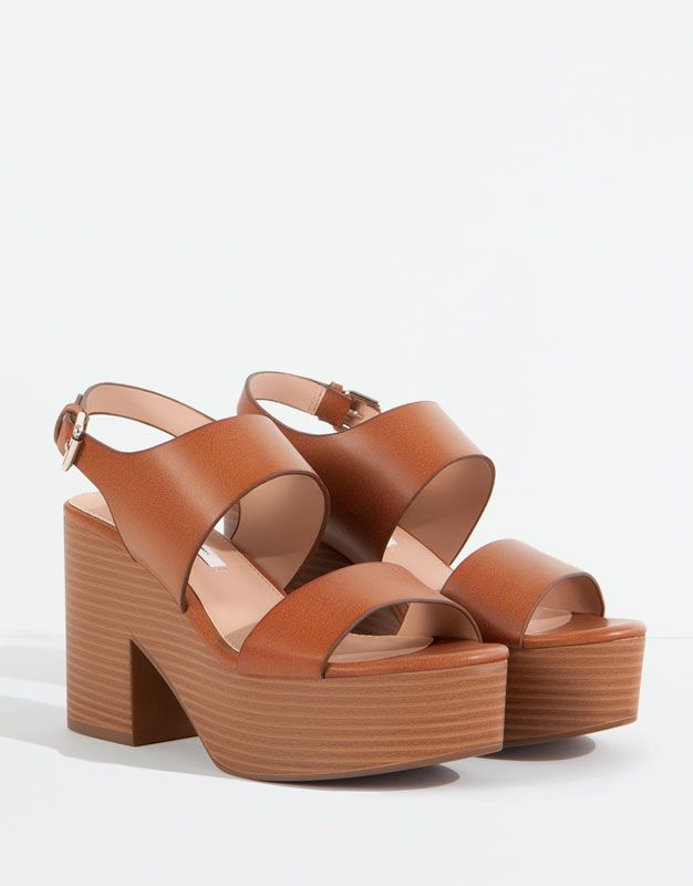 Mujer Sandalia Pull Marrón amp;bear Zapatos Tacón Bloque 76vgbyYf