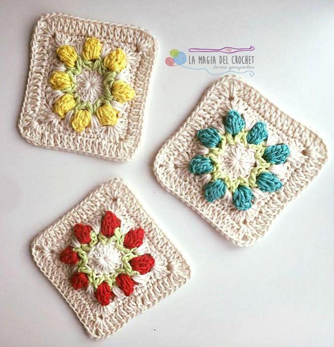 Granny square con tulipanes a crochet | Esquemas, Magia y Tu puedes
