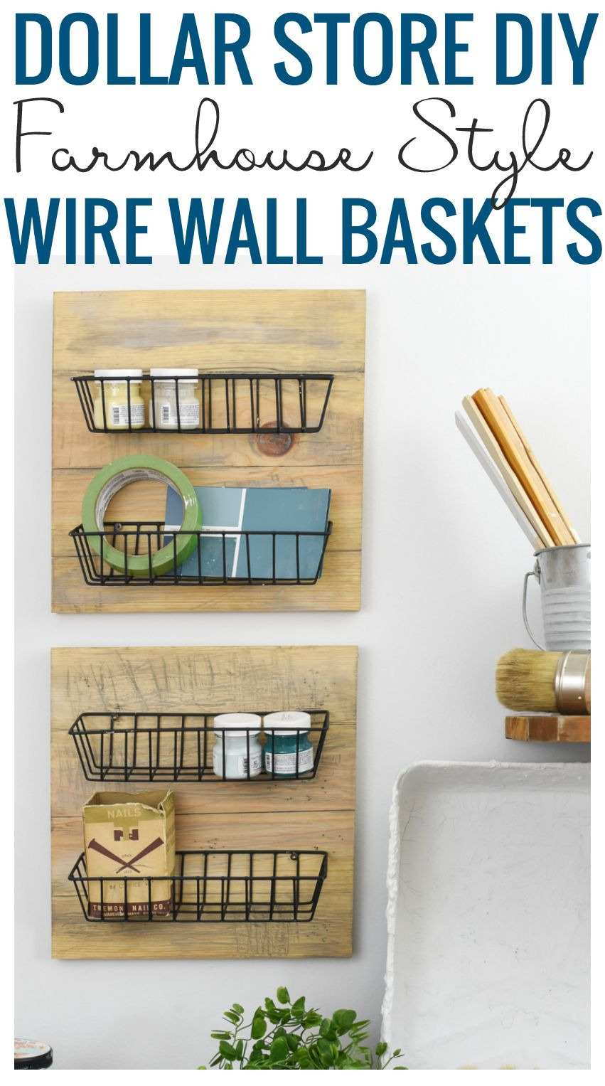 Make Your Own Farmhouse Style Wall Baskets Using Cheap Dollar