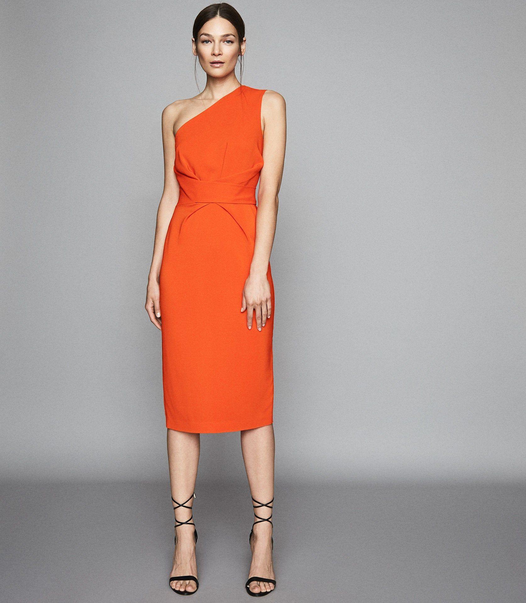 Reiss Laurent One Shoulder Slim Fit Dress In Orange Womens Size 6 Beautiful Dresses For Women Orange Cocktail Dresses Clothes For Women [ 1918 x 1673 Pixel ]