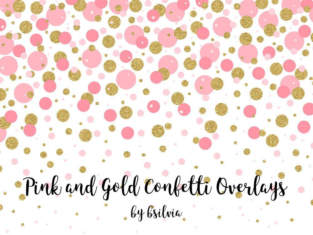 Pink And Gold Confetti Overlays Gold Confetti Transparent Png Etsy In 2021 Photo Overlays Confetti Background Pink Confetti