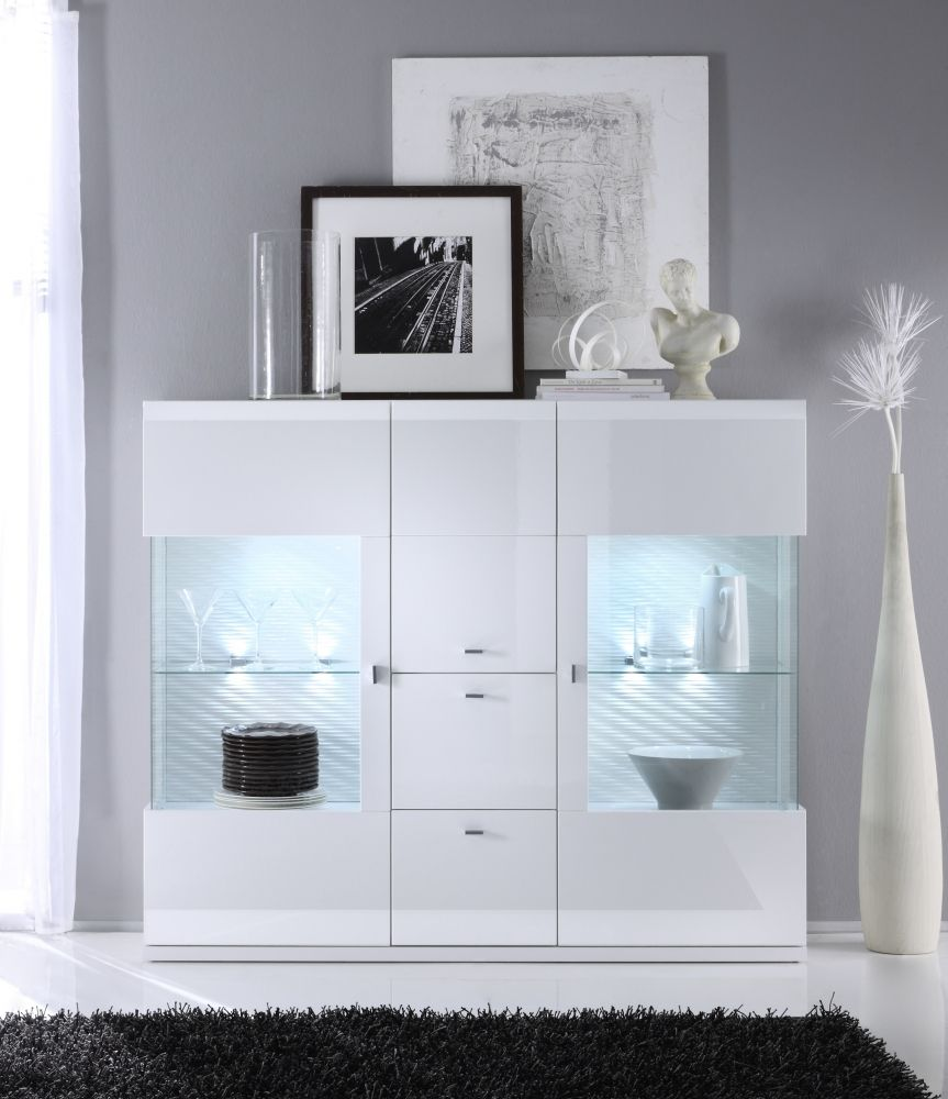 taya hochglanz highboard weiss esszimmer modern stauraum vitrine beleuchtung highboard. Black Bedroom Furniture Sets. Home Design Ideas
