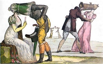 "Stealing kisses inside hats: ""Les invisibles en Tete-a-Tete,"" from the series Le Supreme Bon Ton, No. 16; artist unknown; published by Martinet, Paris, c. 1810-1815  More info: http://twonerdyhistorygirls.blogspot.com/2010/09/smooching-in-hats-in-1810.html"