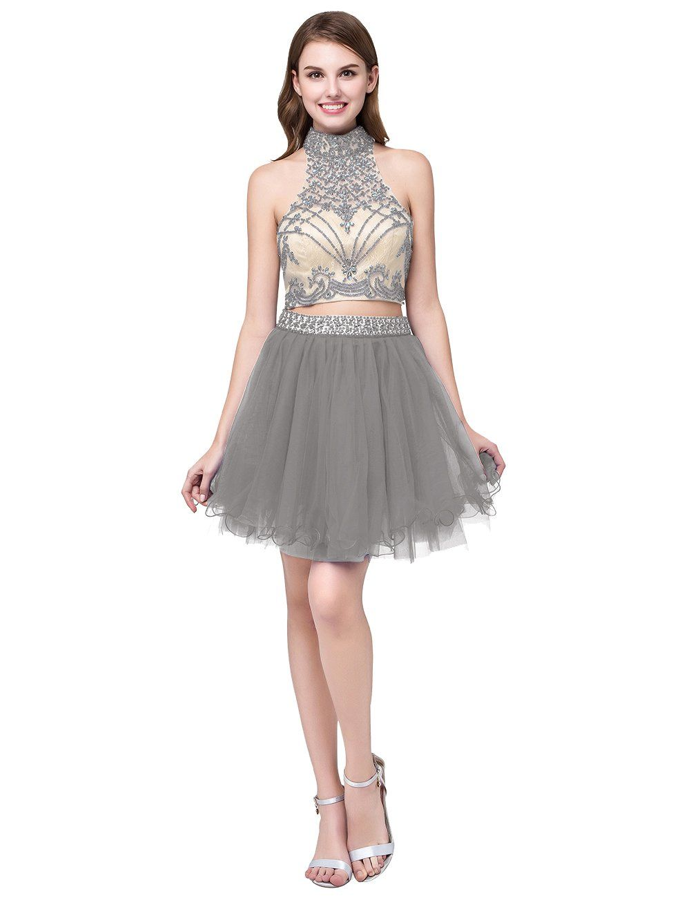 Cdress womens beaded two pieces short tulle homecoming dresses mini