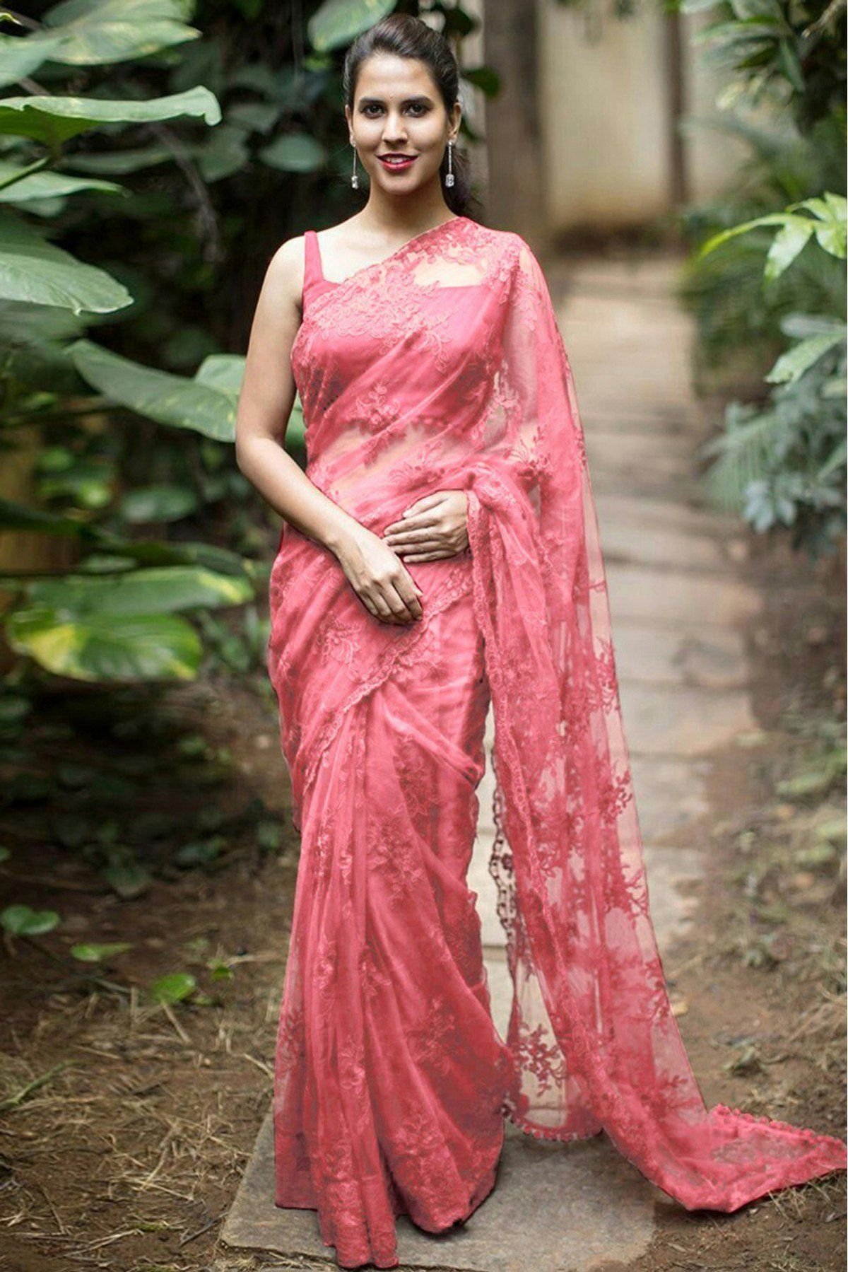 9ea577483f Pink Colour Nylon Mono Net Fabric Saree Comes with matching blouse. This  Saree Is crafted with Thread Work This Saree Comes with Unstitched Blouse  Which Can ...