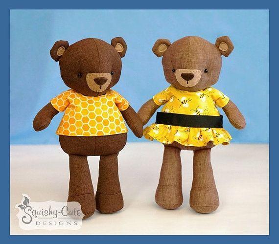 Teddy Bear Sewing Pattern PDF - Bear Stuffed Animal Doll - Plushie ...