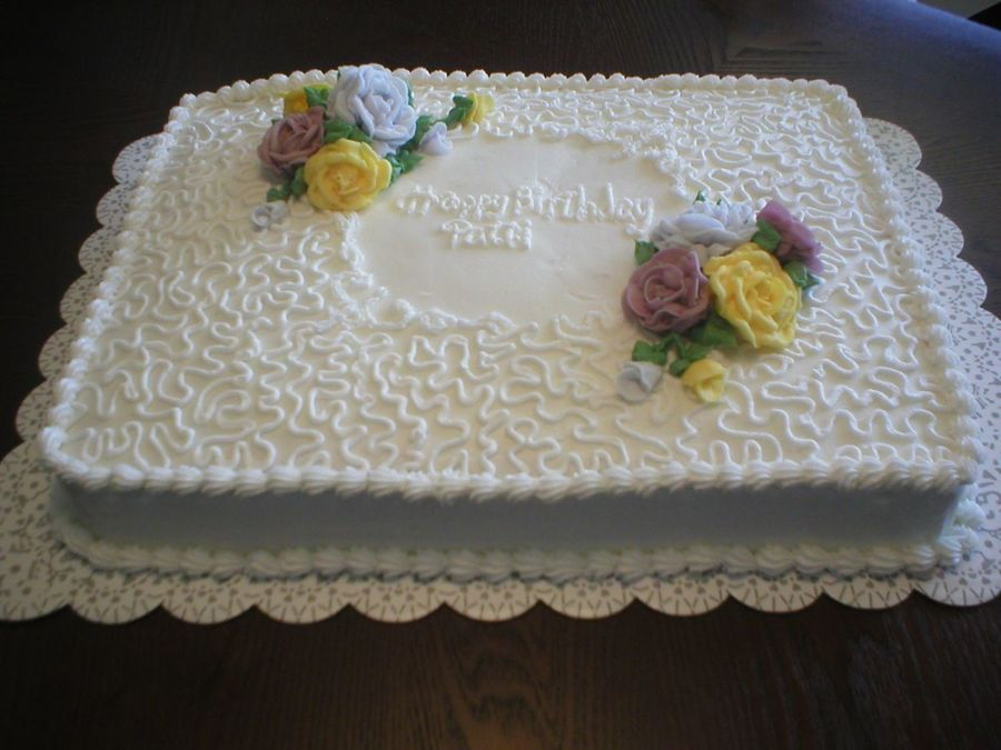 1/2 Sheet Cake Cornelli Lace With Roses on Cake Central ...