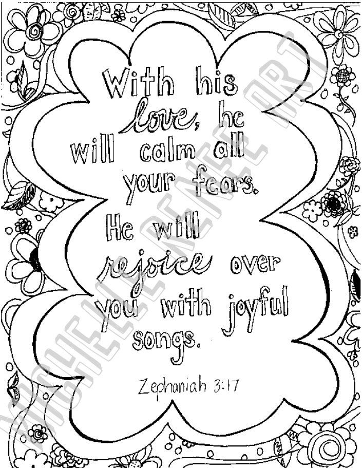 Bible Verse Coloring Page Zephaniah 3 17 Digital Instant Download
