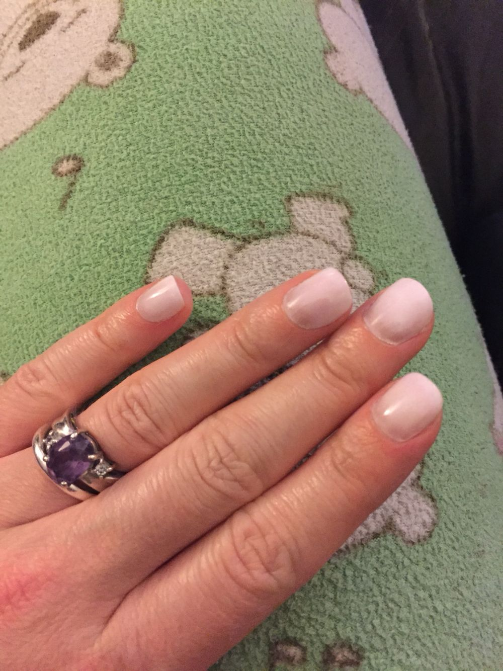 Loving my new experiment with the White EZ Dip powder nails ...