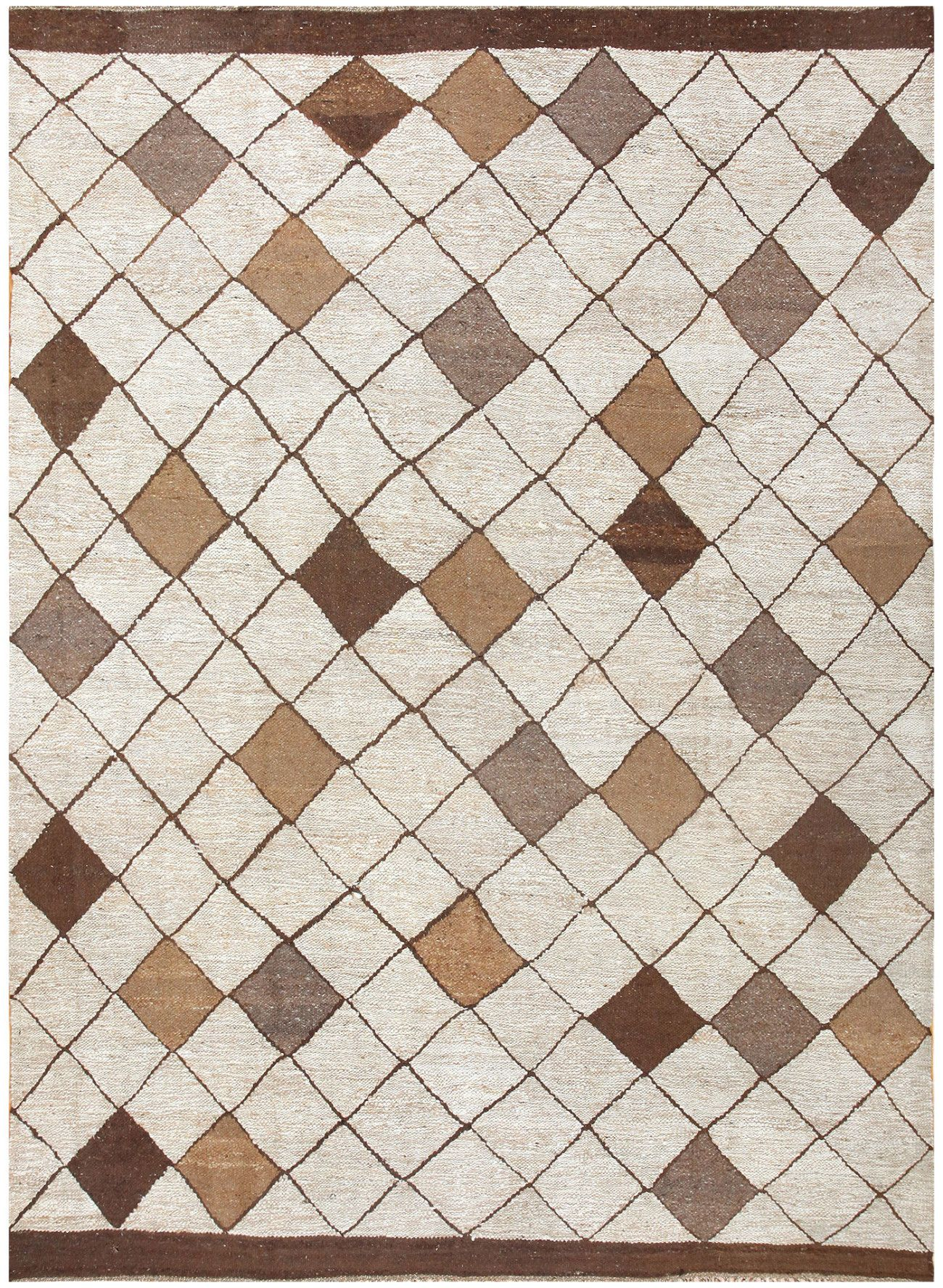 Vintage Kilim, Sweden, mid 20th Century | Boasting the strict geometry and creative simplicity of traditional Swedish tapestries, this elegantly understated piece begins with a broad cocoa-colored border framing an austere lattice across a textured cream base. This strict diamond pattern dominates the piece