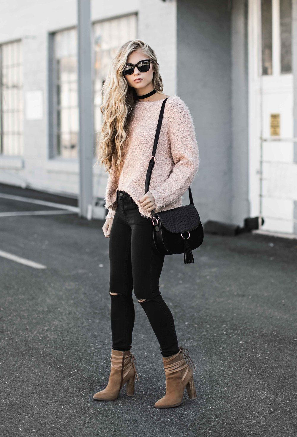 5a50c6d583c Pale pink sweater + black distressed skinny jeans + black choker + tan  pointed toe booties
