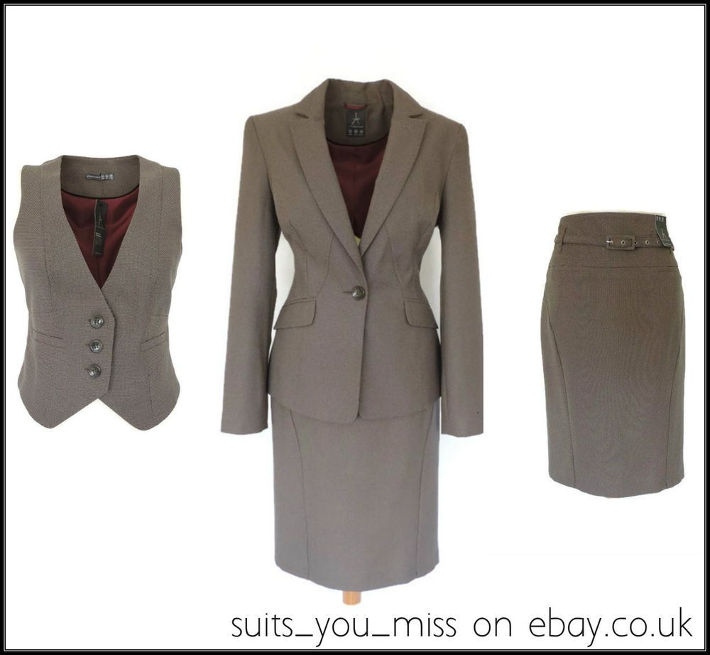 49dfcc04f42008 LADIES WOMENS ATMOSPHERE PENCIL SKIRT SUIT 3 PIECE with WAISTCOAT UK12  Eur40 NWT