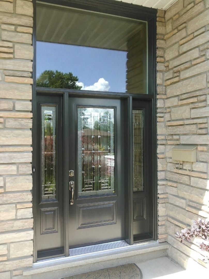 Stunning Decorative Glass Insert Door Front Entrance With Double Sidelight And Plain Transom