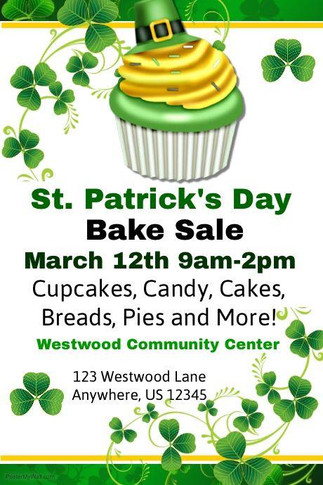 stpatrick bake sale flyers free St Patricks Cupcake Sale