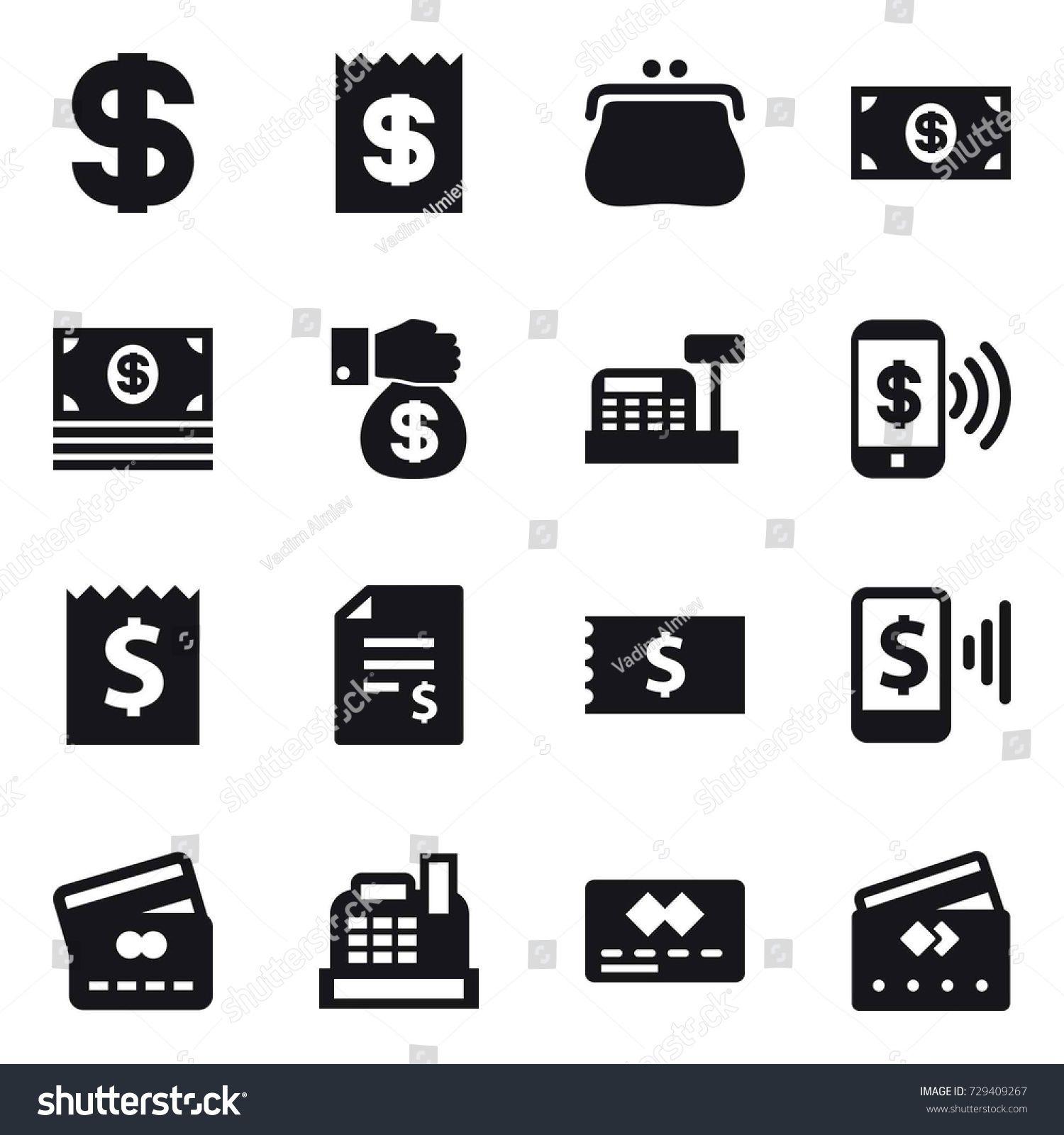 16 Vector Icon Set Dollar Receipt Purse Money Money Gift Cashbox Phone Pay Account Balance Mobil Ad Pa Website Template Fashion Website Templates