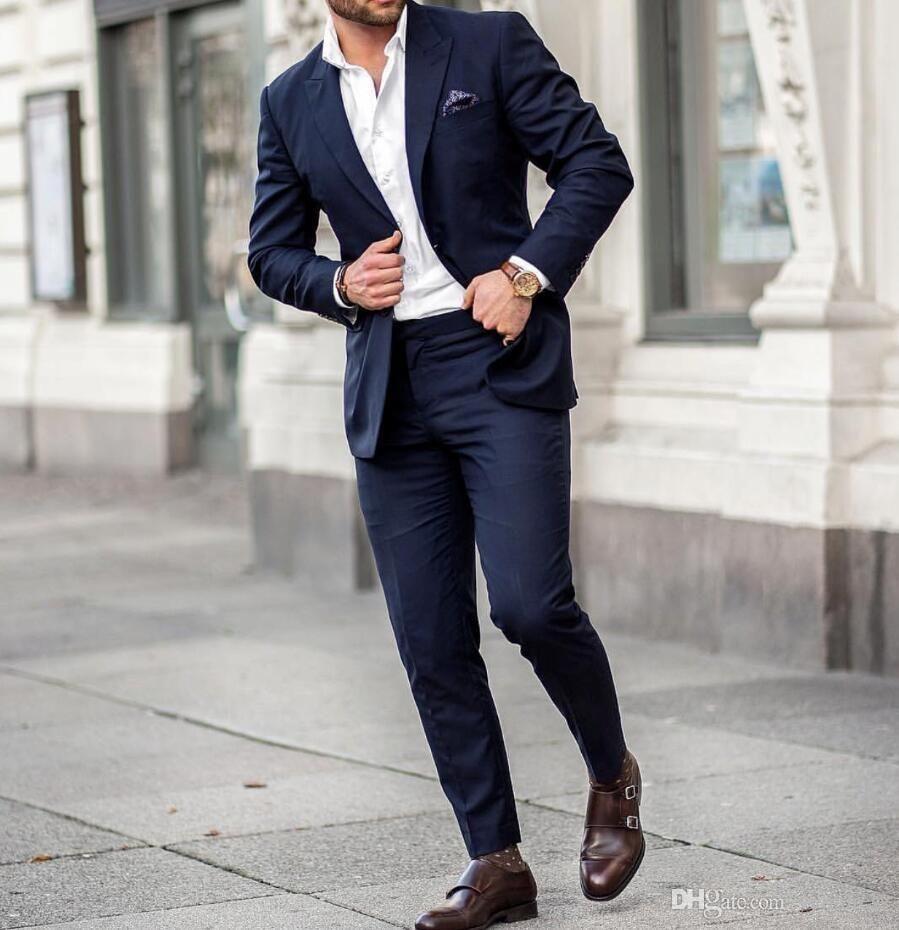 Mens Peaked Lapel Casual Slim Fit Solid Color Formal Suit Blazer Jackets