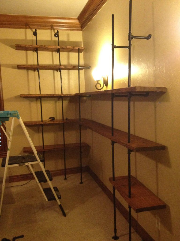 large pipe shelving project steps w distressed wood. Black Bedroom Furniture Sets. Home Design Ideas
