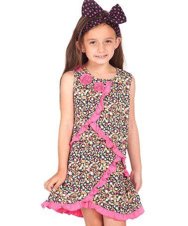 Loving this Navy & Fuchsia Floral Asymmetrical-Trim Dress - Toddler & Girls on #zulily! #zulilyfinds