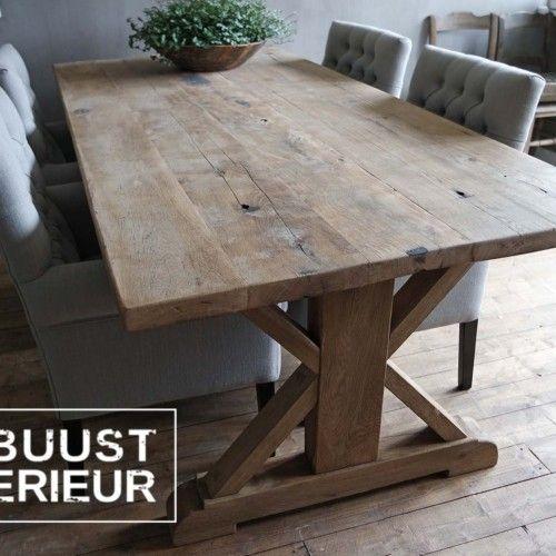 Industriele Tafel Eettafel.Tafel Eettafel Oud Hout Eiken Robuust Stoer Landelijk Industrieel