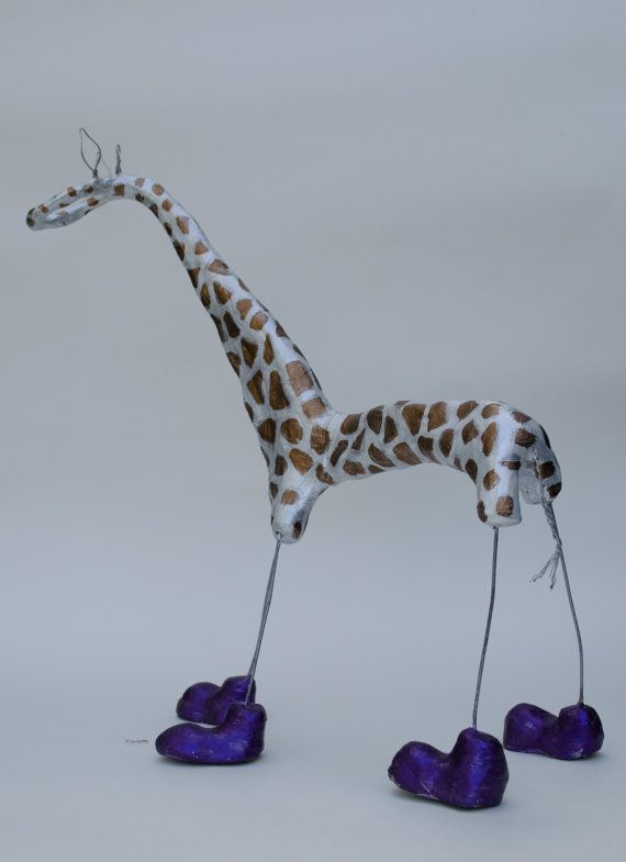 Clay and wire giraffe sculpture...clay sculpture..animal art ...