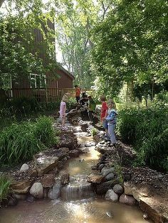 pond and waterfall for kids, outdoor living, ponds water features, The kids are exploring the stream