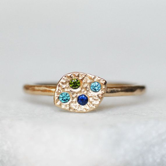 Diamond and sapphire leaf ring in your choice of 14k gold or 18k