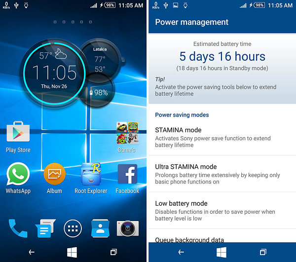 Xperia Windows 10 & Green Blur Theme APK for Lollipop