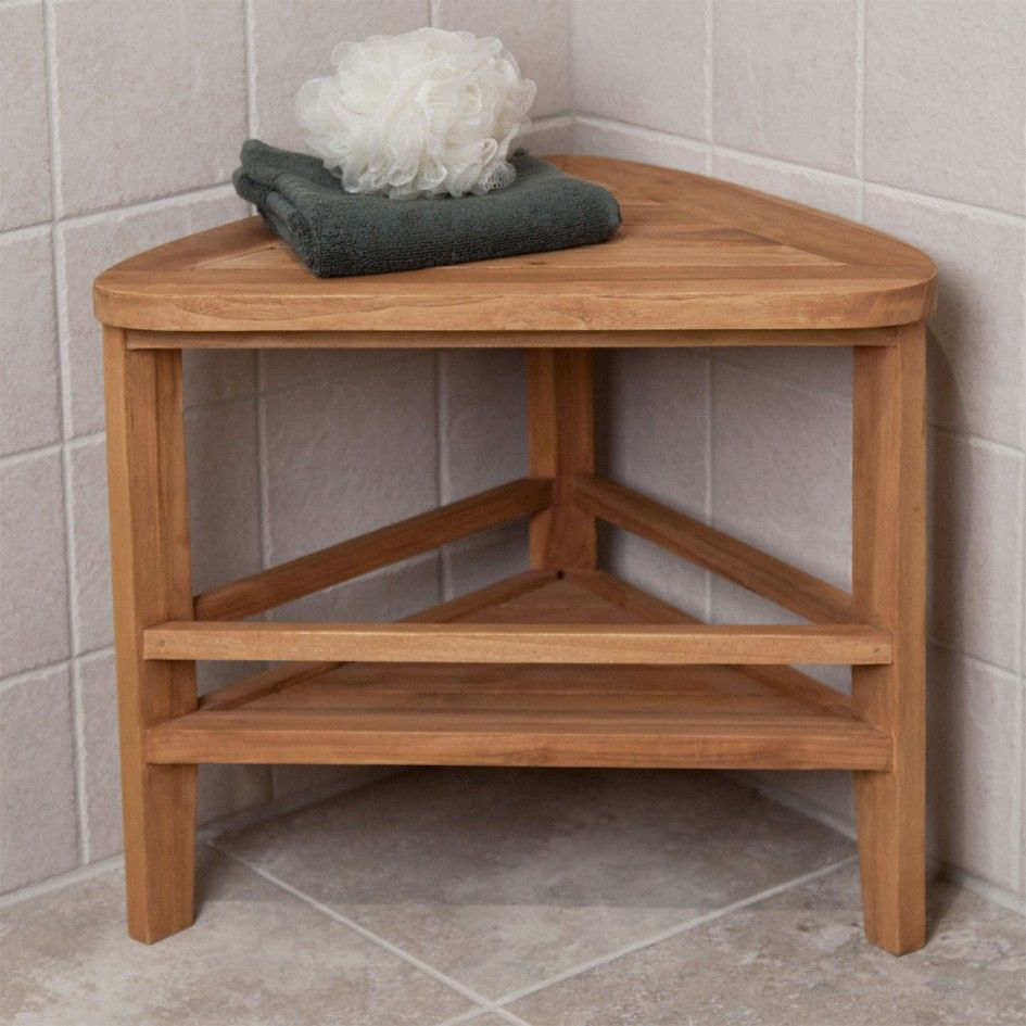 Bathroom, Fantastic Corner Teak Wood Shower Bench Three Leg With ...