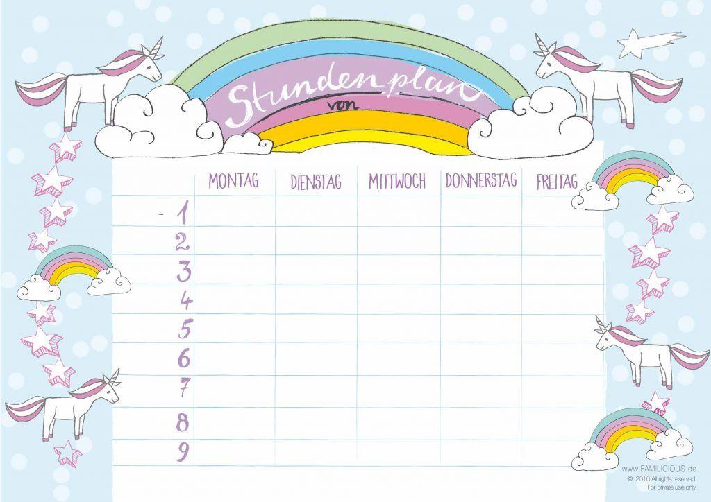 Schule Stundenplan Einhorn Familicious Stundenplan Schule Schulsachen