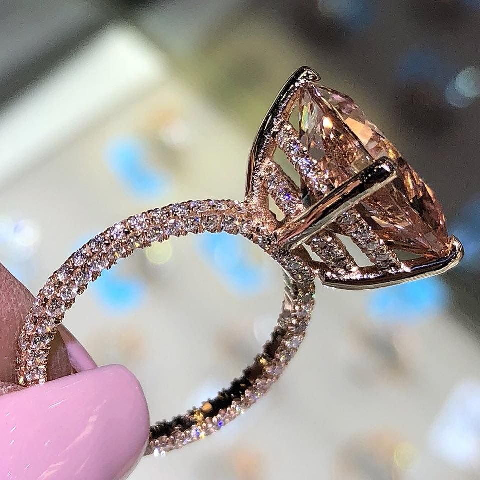 Double under halo rose gold engagement ring with morganite center