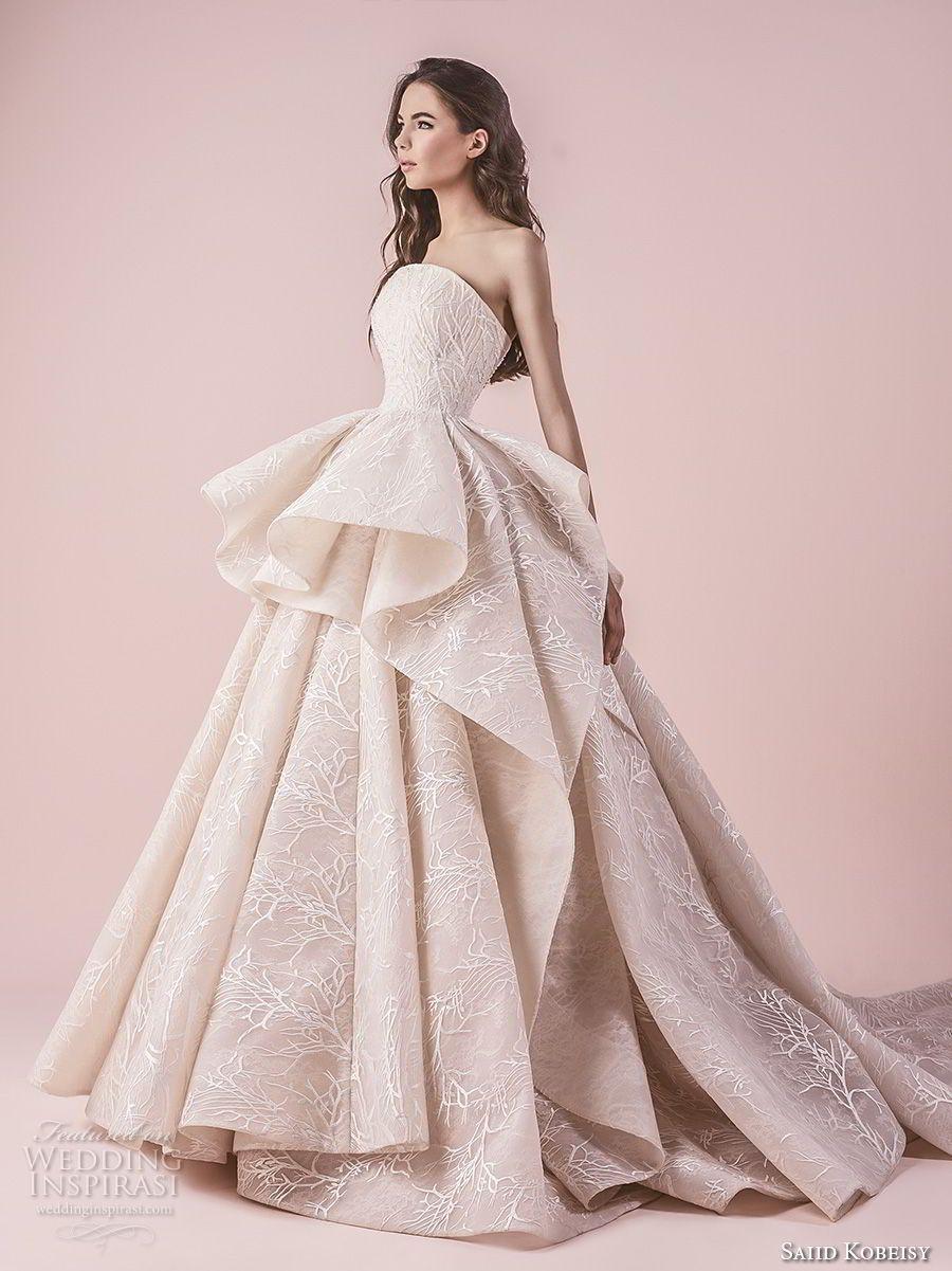 0211ae61580f4 saiid kobeisy 2018 bridal strapless straight across neckline full  embellishment peplum romantic princess blush color ball gown wedding dress  chapel train ...