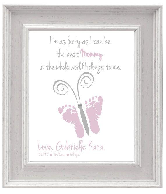 Personalized Mother S Day Gift Erfly Baby Footprint Art Diy Keepsake Print Printable Pdf