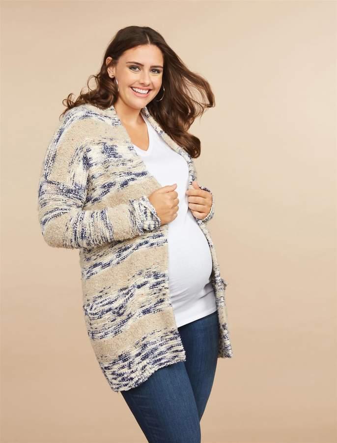 e0720691fbef8 Motherhood Maternity Plus Size Front Pocket Chunky Maternity Cardigan