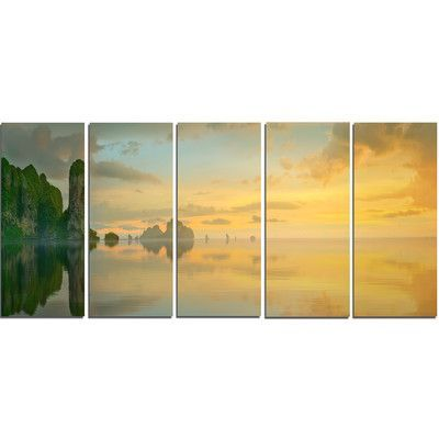 DesignArt Colorful Sky and Board on Beach 5 Piece Photographic Print on Wrapped Canvas Set