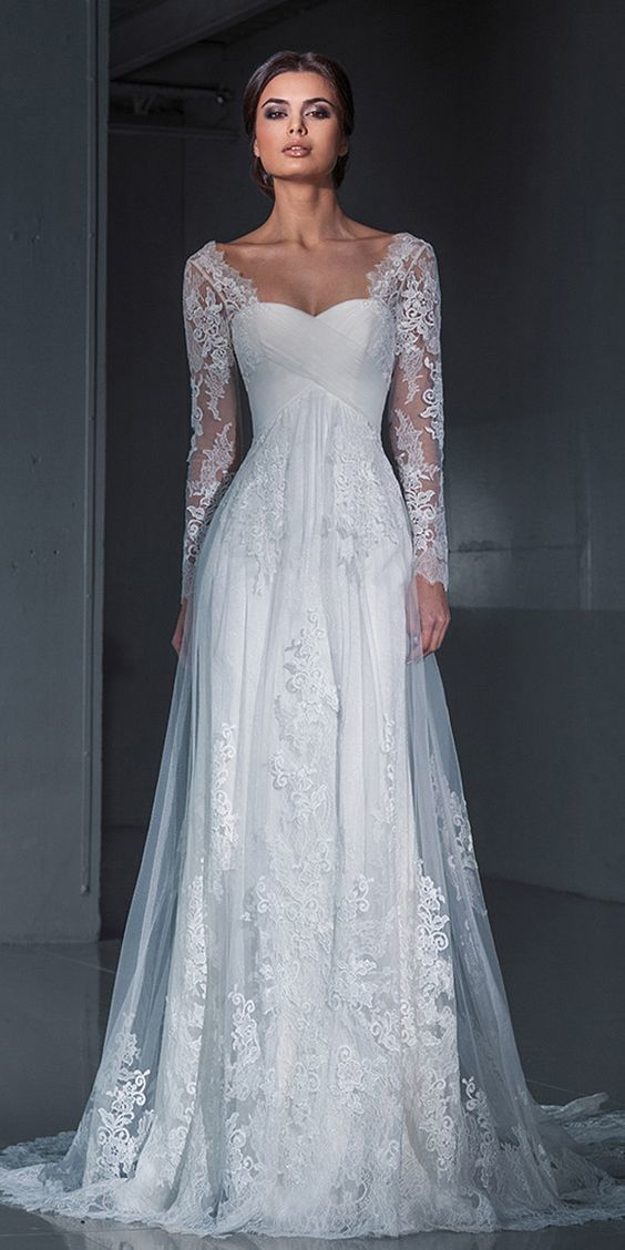 Long Sleeve Formal Lace Wedding Dresses, Bridal by PrettyLady on