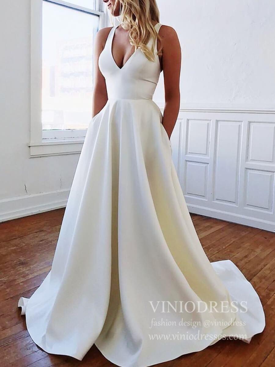 Simple Minimalist Wedding Dresses With Pockets Bow Vw1446 Bow Wedding Dress V Neck Wedding Dress Backless Wedding Dress [ 1200 x 900 Pixel ]