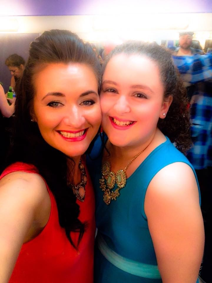Heather and Crystal ... backstage ... Dirty Rotten Scoundrels, 2015