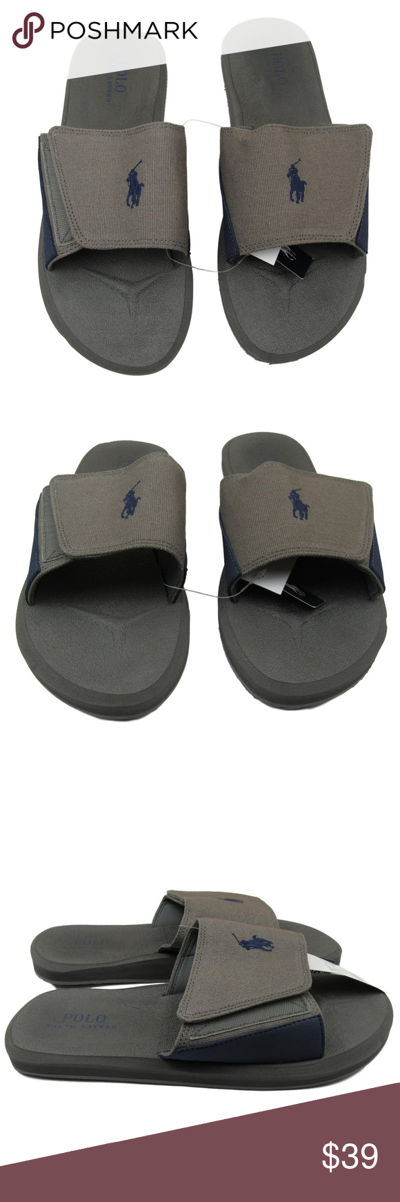 f95b746f4ed5 Polo Ralph Lauren Slides Sandal Size 10 Mens Grey Polo Ralph Lauren Slides  Sandals Canvas Slip On Men s Size 10 Gray   Blue Logo Colorway Brand New  Without ...