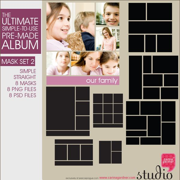 From the Ultimate Albums comes these splendid masks! 8 masks that will help you show off those photos! (Straight Corners)
